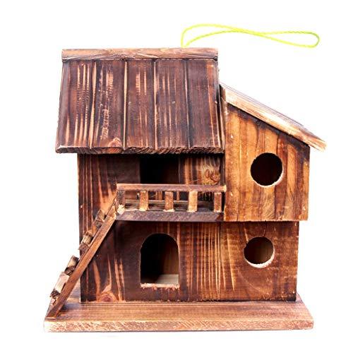 Villa Mini Outdoor Bird Nest karbonisiertes Holz Korrosionsschutz Schimmel Insektensicher Regen Vogelnest Dekoration Vogelhaus