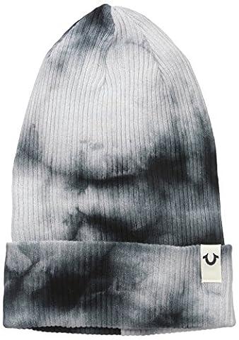 True Religion Men's Marble Dye Knit Beanie, Black, One Size