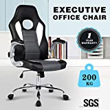 UEnjoy Swivel PU Leather High Back Office Chair Gaming Chair - in Black White Color