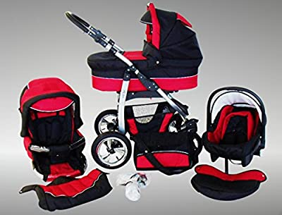 Chilly Kids Dino Kinderwagen Sommer-Set (Sonnenschirm, Autositz & Adapter, Regenschutz, Moskitonetz, Getränkehalter, Schwenkräder) 23 Rot & Schwarz