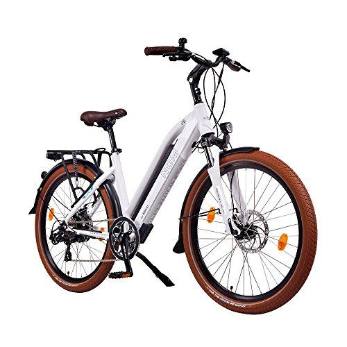 NCM Milano 48V, 26' Zoll Damen & Herren Urban E-Bike Elektrofahrrad Pedelec, 250W Das-Kit Heckmotor, 13Ah 624Wh Li-Ion Zellen Akku, mechanische Scheibenbremsen, 7 Gang Schaltung, weiß
