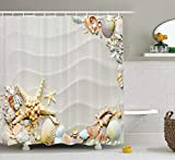 tgyew Starfish Decor Shower Curtain, Seacoast with Sand Colorful Various Seashells Tropics Aquatic Wildlife Theme, Fabric Bathroom Decor Set with Hooks, 60W X 72L Inche Extra Long, Multicolor