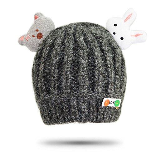 CATOP Baby Toddler Soft Beanies Hat Cute Bear & Rabbit Knitted Lovely Warm Infant Trendy Beanie Child Fashion Winter Beanie Hat [0-30 (Bear Beanie Stricken)