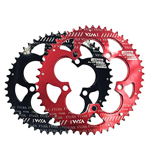 Kettenblätter für Fahrräder Fahrrad Double Oval Kettenblatt 110BCD Chainwheel für Rennrad, Mountainbike, BMX MTB Bike 50T / 35T (Farbe : Schwarz, Größe : 110BCD 50T/35T)