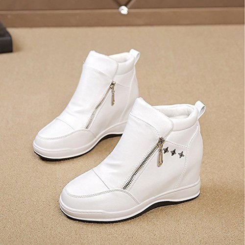 HSXZ Scarpe donna pu inverno Comfort stivali Flat Round Toe stivaletti/CAVIGLIA GINOCCHIO stivali alti Stivali Stivali Mid-Calf per esterno bianco nero cammello White