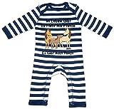 HARIZ Baby Strampler Streifen Im Leben Gibt Es Mehr Als Pferde Es Gibt Auch Ponys Süß Tiere Dschungel Plus Geschenkkarte Navy Blau/Washed Weiß 12-18 Monate