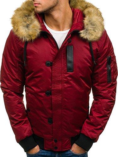 BOLF Herren Winterjacke Jacke mit gefütterte Kapuze Stehkragen Steppjacke NATUR 4826 Weinrot XXXL [4D4] (Nylon-reißverschluss-taschen)