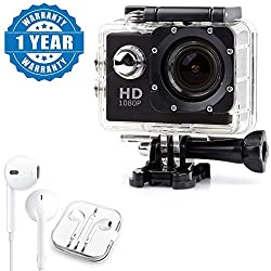Drumstone HD 1080p 12MP Waterproof Action Camera With Earpod with Mic, Sound Controller, Call Receiver and Call End Button Compatible with Xiaomi, Lenovo, Apple, Samsung, Sony, Oppo, Gionee, Vivo Smartphones (One Year Warranty)