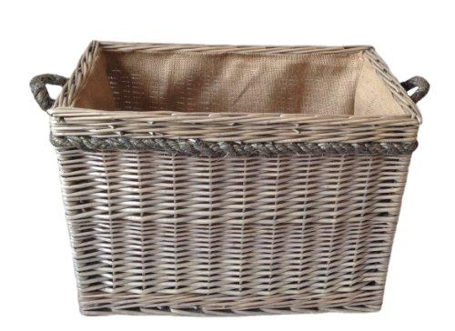 Willow supporto di memorizzazione rettangolare Rope Handled Log Basket