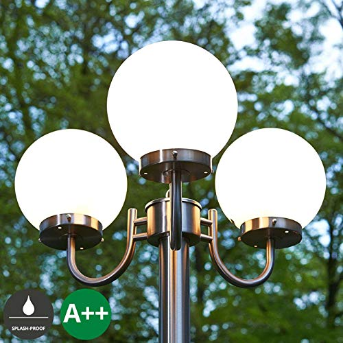 Lampenwelt Mastleuchte außen \'Samuel\' dimmbar (spritzwassergeschützt) (Modern) in Alu aus Edelstahl (3 flammig, E27, A++) - Kandelaber, Außenleuchte