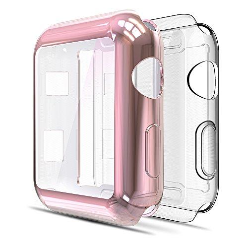 Simpeak für Apple Watch 38mm Hülle Series 3/2 / 1 (1 * Transparent + 1 * Roségold), Leicht Weiche Silikon Ultradünne TPU iWatch Schutzhülle Schutz Schlankes Case für Apple Watch 38mm