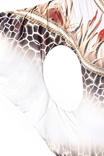 Kurzes weißes Sommerkleid mit einem Arm Strass und Tierdruck Muster asymmetrisch geschnitten weiß/gemustert