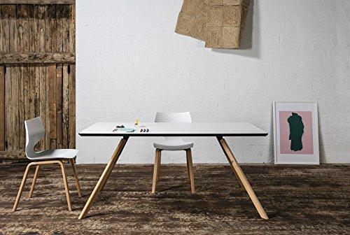 Delamaison Table à Manger en Bois et Pieds en frêne Massif H73cm CASCAIS rectangulaire