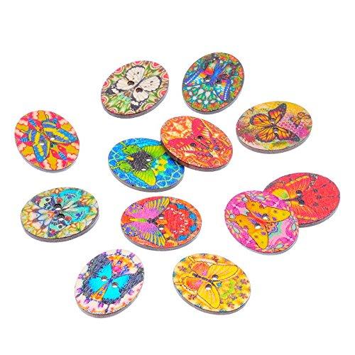 ck Holz Knöpfe Lovely Butterfly verschiedene Farben Nähen DIY Craft Geldbörse Baby Kleidung Dekoration Nähen Knopf ()