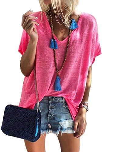 Rose Damen Henley (Damen Kurzarm T-Shirt V-Ausschnitt Casual Sommer Lose Shirt Oversize Oberteile Rose DE 40)