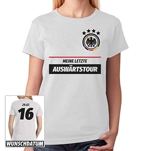 JGA Frauen Shirt Kombi Meine Letzte Auswärtstour mit WUNSCHDATUM Frauen T-Shirt Slim Fit X-Large (Frauen Ideen Fußball Kostüm)