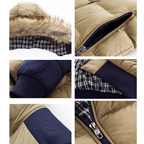 Highdas hiver chaud Hommes Manteau de duvet de coton ¨¦pais Parkas Manteaux de fourrure amovible Cap Parka ¨¤ capuche Khaki/Bleu