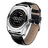 TPulling Mode Herzfrequenz-Blutdruckmessgerät Slot Handgelenk wasserdichte Bluetooth Smart Watch Tracker Smart Watch Wasserdichte Fitness Armband Sport mit Android iOS Leder (Silber)