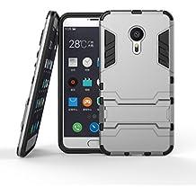 Funda Libro para Meizu MX5 (5.5 pulgada) , Ycloud el teléfono Strongest a prueba de golpes armadura doble protección de concha protectora de duro soporte cubierta protectora Gris