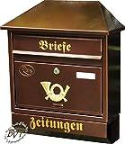 Großer Briefkasten, Premium-Qualität, verzinkt mit Rostschutz Walmdach W/c kupfer kupferfarben braun + Zeitungsfach Zeitungsrolle Postkasten