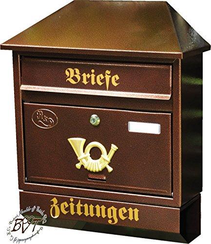 Briefkasten, groß XXL, Premium-Qualität, verzinkt, pulverbeschichtet Walmdach W/c kupfer kupferfarben braun + Zeitungsfach Zeitungsrolle Postkasten