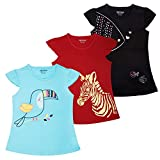 #2: MINNOW Girls Flutter Sleeve Printed Cotton Tshirt(Pack of 3)