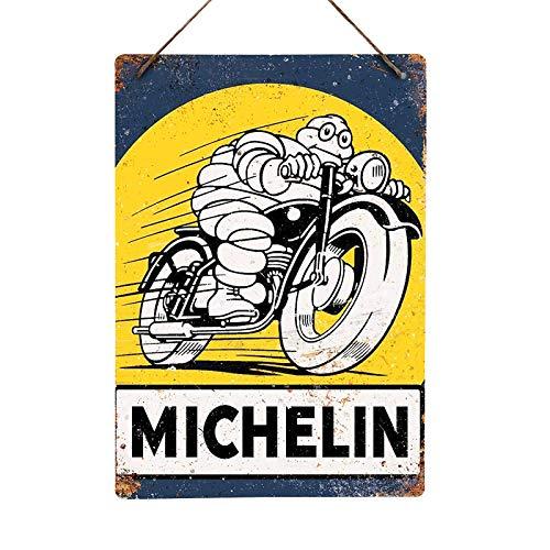 Mancave Essentials UK Réplica de Letrero de Pared de Metal Retro de Michael Tyres (Bicicleta) para Bares, Bares, Bares, Bares, Bares, garajes, cobertizos, 20x28cm (Twine/String)