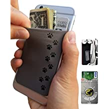 Gecko–Funda para teléfono Cartera y bloqueo RFID, un adhesivo elástico lycra tarjeta soporte universal compatible con la mayoría de teléfonos móviles y casos. Xtra Tall bolsillo cubre totalmente tarjetas de crédito y efectivo plateado Dog Paws