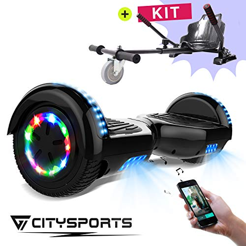 Zweirad E-Board (Hoverboard) - CITYSPORTS BalanceBoard6,5Zoll,HoverBoard+Hoverkart,SelfBalanceScooterElektroroller,RädermitLED-Beleuchtung,Bluetooth,700-W-Motor (Hover-08)