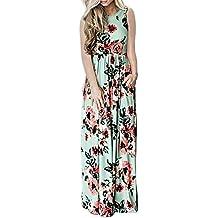 Vestido de Verano Largo Cuello Redondo Sin MangasEstampado Floral Casual Pocket Vintage Vestido Largo Playa Sundress