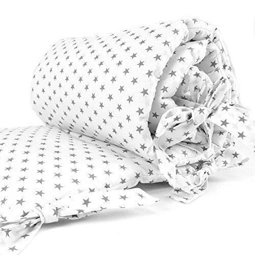 Sugarapple Baby Nestchen Bettumrandung dick gepolstert für Beistellbetten, Kopfschutz und Kantenschutz für babybeistellbetten, Bettnestchen Maße: 170 x 25 cm, Sterne Grau