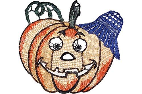 entzückendes Fensterbild Saugnapf Plauener Spitze ® Halloween Herbst Fensterdeko Spitzenbild Kinderzimmer (Kürbis orange bunt 16x16 cm)