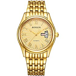 BINLUN Mens Gold Wrist Watch Waterproof Automatic Mechanical Watches for Men with Day Date