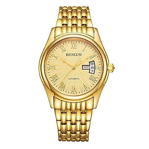 Binlun Homme Doré montre bracelet étanche mécanique automatique montres pour homme avec date