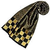 Lorenzo Cana Luxus Damen Schal aus 100% Seide aufwändig jacquard gewebt Damast Seidenschal Seidentuch Tuch 25 x 160 cm Schwarz Gold Karo 89214