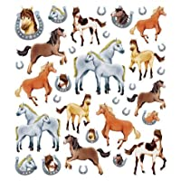 Tattoo King Multi-Colored Stickers-Horses Glitter