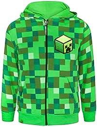 Minecraft - Creeper - Felpa ufficiale con cappuccio - Bambino (13-14 anni) (Verde pixel)