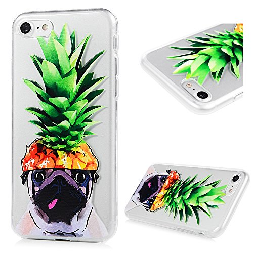 iPhone 7 Funda TPU Silicona Suave Ultra Delgada Transparente,YOKIRIN Carcasa Pintada Cubierta Dibujos Case para iPhone 7 4.7 Pulgadas Completa Protección para Choques - Perro