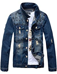 cee53b6f5273 Yiiquan Homme Rivet Blouson Denim Jacket Mode Manche Longues Slim Loisir Jean  Veste