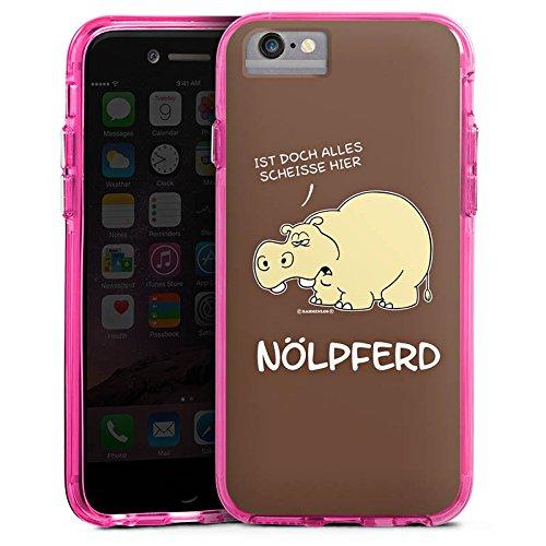 Apple iPhone 7 Plus Bumper Hülle Bumper Case Glitzer Hülle Nilpferd Funny Lustig Bumper Case transparent pink