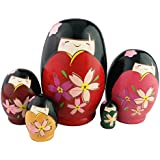 Set Of 5 Adorable Japanese Little Girls Wear Kimono Pattern Egg Shape Handmade Wooden Russian Nesting Doll Matryoshka Kids Stacking Toys Birthday Christmas Gift Home Decoration