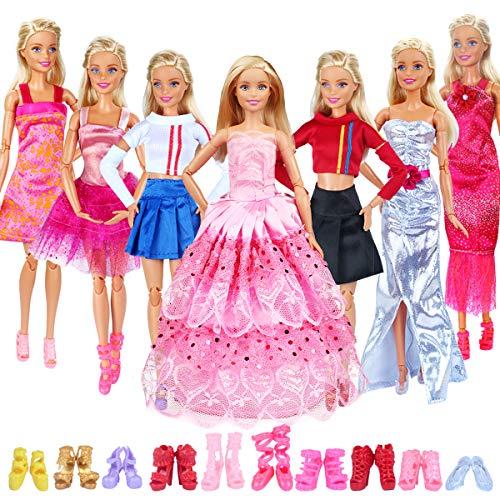 ung Puppenkleidung Puppen Schuhe Set Puppen Klamotten Party Kleider Puppen Zubehoer (17Pcs (7Kleidung &10Schuhe)) ()