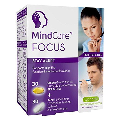 MindCare FOCUS, restez alerte, complément alimentaire avec de l'huile de poisson sauvage oméga-3 haute puissance, acétyl-L-carnitine, L-théanine, taurine, caféine et multivitamines pour soutenir le fonctionnement du cerveau et la performance mentale, 30 capsules d'oméga-3 + 30 gélules de micronutriments.