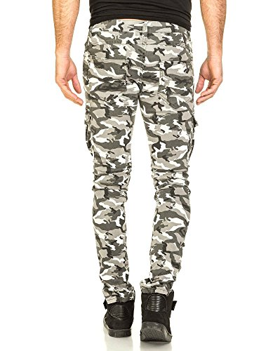 BLZ jeans - Jeans blanc homme camouflage cargo nervuré Blanc