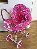 Puppenwagen Kinderwagen Weide 45x45x47 cm rosa gr.Punkte Weidenkorb Korbwagen Stubenwagen