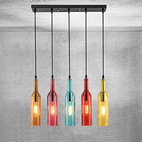 HEJU Coloridos 5-luces la botella de cristal de la lámpara de cristal creativo linternas de colores for la Industria retro techo de techo colgante de la lámpara linterna Decoración Restaurante Bar Coc