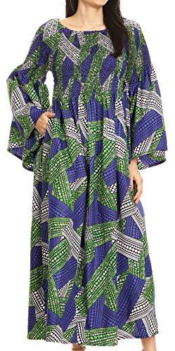 Womens Zigeuner Bauer Boho Smocked Kleid im afrikanischen Ankara-Print - 129-BlueGreen - OS ()