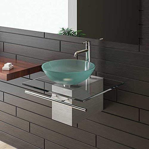 Alpenberger Satinierte Glaswaschschale Ø 42 cm mit Satinierte Waschtischplatte 60 cm und