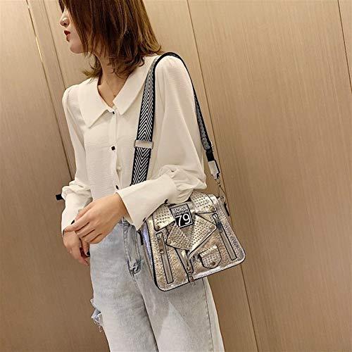 Designer Kette Motorrad Taschen For Frauen Kleidung Schulter Niet Jacke Tasche Messenger Bag Lady Leder Handtaschen (Color : Silver, Size : M) - Designer-kleidung Frauen