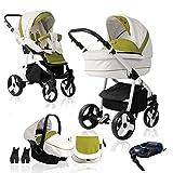 Bebebi Fizzy | ISOFIX Basis & Autositz | 4 in 1 Kombi Kinderwagen | Farbe: Avocado Luft